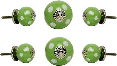 Trinca Ferro Set of 6 Door Cabinet Knobs Ceramic Round Drawer Cupboard Vanity Dresser Pull Small White Spots on Green Chro...