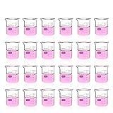 Labvida 24pcs of Glass Beakers Shot Glass, Vol.50ml, 3.3 Borosilicate Griffin Low Form with Printed Graduation, LVA004