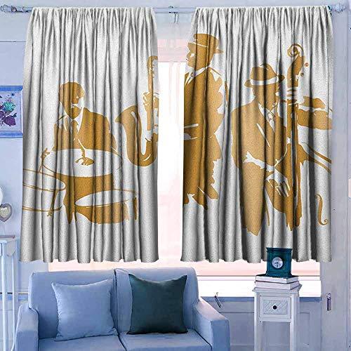 Witte Gordijnen Decoratieve Gordijnen voor Woonkamer en Slaapkamer Muziek Vintage Radio's Fifties Oude Fashioned Sound It Out Media Karikatuur Pop Illustratie Multi kleuren