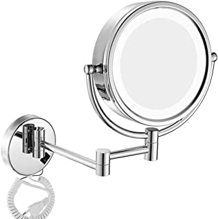 Home Vanity Mirror Dressing Table Makeup Mirror LED Illuminated Wall Mounted 7X Magnification Double-Sided 360&deg Swivel Extendable Bathroom Mirrors