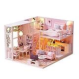 Currentiz DIY Maison de Poupée Construire Maison à Construire en Miniature Maison Miniature en Kit avec lumière LED Maison de Poupée en Bois Miniature avec des Meubles Cadeau pour Les Filles