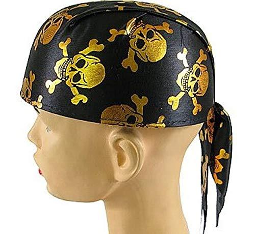 Piraten Cap Bandana met gouden doodskoppen Halloween