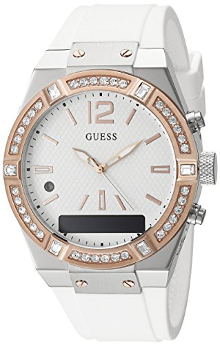 Guess Damen Analog-Digital Quarz Uhr mit Silikon Armband C0002M2