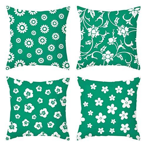 Socoz Juego de 4 fundas de cojín para sofá, cojín de 50 x 50 cm, funda para cojín rectangular con diseño de flores