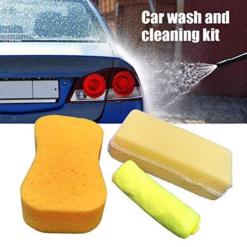 3-teilig Auto Reinigungsschwämme Kit High Density Mesh Auto Montage Waschschwamm Küche saugfähigen Mikrofaser Handtuch Reinigung Büromöbel Werkzeug
