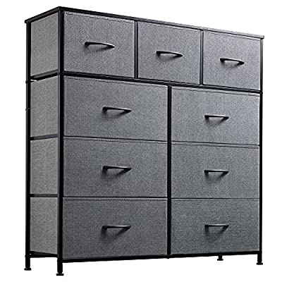 WLIVE 9-Drawer Dresser, Fabric Storage Tower for Bedroom, Hallway, Nursery, Closets, Tall Chest Organizer Unit with Textured Print Fabric Bins, Steel Frame, Wood Top, Easy Pull Handle, Charcoal Gray