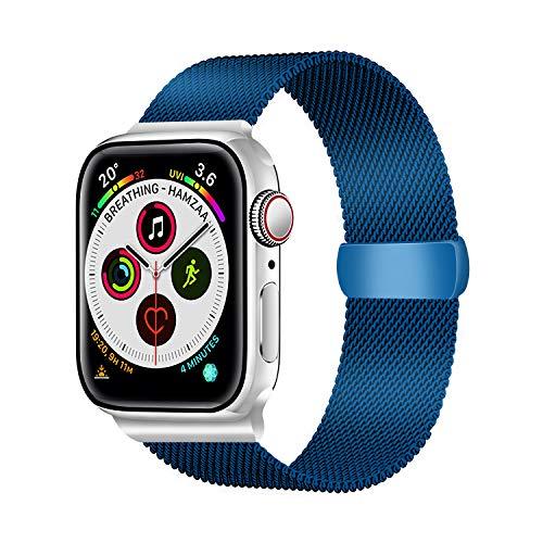 LUNANI コンパチブル apple watch バンド38mm 40mm 42mm 44mm,ミラネーゼループ コンパチブル apple watch series 5/4/3/2/1, 調整可能な磁気ステンレススチールスポーツストラップ (ブルー 38mm 40mm)