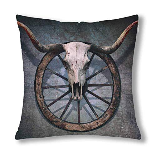 Ahdyr Vintage teschio di Toro e vecchia ruota del Carro occidentale su decorazione murale graffiata, cuscino da Tiro, copertura per federa, protezione per federa con cerniera quadrata 18x18 pollici