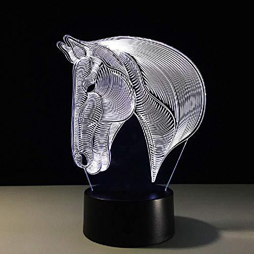 Horse Head 3D Stereo Vision Lámpara Acrílico 7 Colores Que Cambian Usb Dormitorio Noche De Noche Luz Creativa Real Betis Lámpara De Escritorio