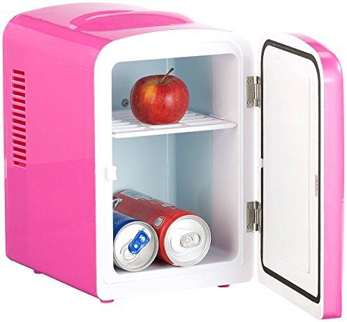 Rosenstein & Söhne Dosenkühlschrank: Mini-Kühlschrank AC/DC, 12/230V 4l, mit Warmhalte-Funktion, pink (Kleiner Kühlschrank)