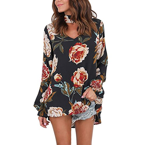 Petalum Damen Bluse Elegant Langarm V Ausschnitt Oversize Lässig Oberteil Chocker Blumen Tunika Langarmshirt Lose Neckholder T Shirt Top
