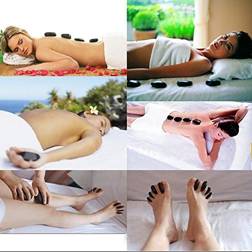 Zabrina 4 Pcs Large Massage Stone Large Hot Basalt Stone Large Hot Stone Massage Hot Rock Massage Stones Hot Rocks Stones, 2.75 in 3.54 in [Use in Palm, Soles or Back]