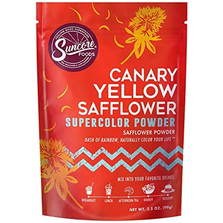 Suncore Foods – Organic Canary Yellow Safflower Supercolor Powder, 3.5oz – Natural Safflower Flower Food Coloring Powder, Plant Based, Vegan, Gluten Free, Non-GMO