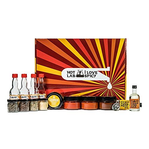 I LOVE SPICY Hot Lab Kit Per Fare la Tua Salsa Piccante in Casa 4 x 100 ml Purè Di Peperoncino (Trinidad Scorpion, Hot Portugal, Bhut Jolokia, Habanero), Spezie, 2 x 50 ml Aceto (Bianco & Mele)