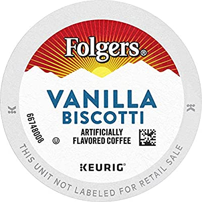 Folgers Vanilla Biscotti Flavored Coffee, 72 K Cups for Keurig Coffee Makers