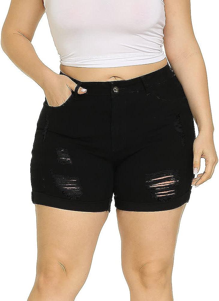 ALLEGRACE Plus Size Denim Shorts Women High Waisted Ripped Folded Hem Jean Shorts