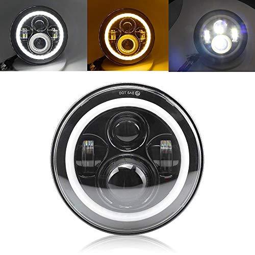 Fari LED rotondo da 7 pulgadas con alone Angel Eyes (segnale ambra), anabbaglianti e anabbaglianti, per moto