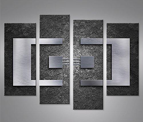 Cuadro en Lienzo Balance 4er Metal Charcoal Impresión sobre Lienzo - Formato Grande 4 Partes - Impresion en Calidad fotografica