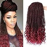 Box Braids Crochet Hair Curly Ends Deep Wave Curly Burgundy Crochet Hair 18 Inch 5 Packs 30 Strands/Pack Goddess Senegalese Twist Crochet Hair Synthetic Hair Extensions for Black Women(99J)