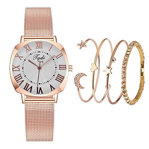 Relojes Para Mujer Relojes de mujer de moda con brazalete de la pulsera de 4 piezas Reloj de pulsera de reloj de pulsera Reloj de reloj regalos para el Año Nuevo Relojes Decorativos Casuales Para Niña