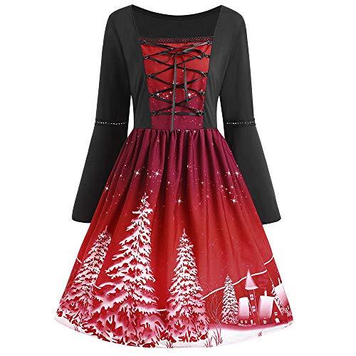 MRULIC Damen Kleid Ballkleid Abendkleid Minikleid Weihnachts Geschenk Freundin Winterrock Festliches Kleid Mehrfarbig Verfügbar Schön Neujahr Kleider 2018(A1-Burgundy,EU-48/CN-5XL)