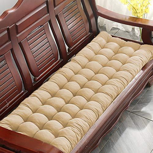 JHuanic - Cojín de banco grueso para muebles de jardín, rectangular, para asiento de banco, cojín suave, para silla de jardín, 170 x 50 cm, color beige