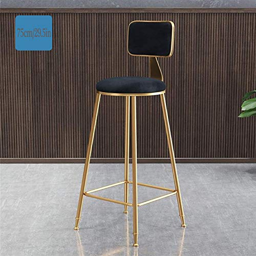 Dongbin Kitchen Pub Barhocker Frühstück, Theke Stuhl-Sitz Fußstützen Holzstuhl mit, Fußstützen Rücken Pub Küche Cafes High-Back Modern Metall,Schwarz,75cm