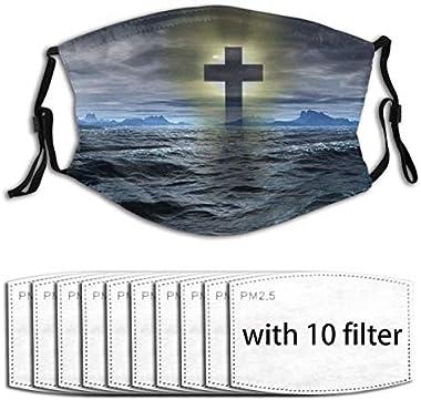 Unisex Full-Coverage Tube Face Mask Bandanas UV Protection Neck Gaiter Headband, Cross Mark Symbolof Christian