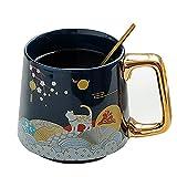 XDYNJYNL Moderno 13.52oz / 400ml Copa de cerámica, patrón de Gato Tazas de Latte Reutilizables Tazas de café con Mango Aislado Beber Tumblers Taza de Desayuno Taza de Porcelana Highball Set