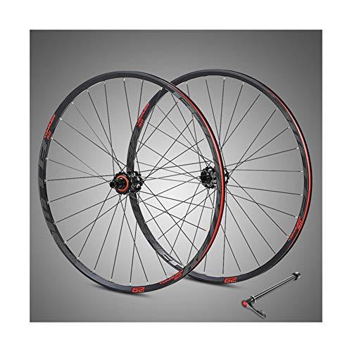 """Ruedas de bicicleta de montaña de 29 """"con cuatro ejes de fibra de carbono Palin, soporte para volante XD 11,12 Speed y logotipo reflectante Ruedas solo para frenos de disco, llantas solo XC,Rojo"""