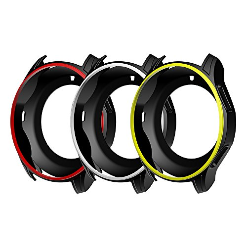 Awinner Colorful Case for Gear S3 Frontier SM-R760,Shock-Proof and Shatter-Resistant Protective iwatch Silicone Case for Samsung Gear S3 Frontier SM-R760 Smartwatch (3-Black)