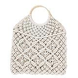 Bolsa de playa para mujer, estilo vintage, con asa redonda, blanco (Blanco) - QDJSRH-027