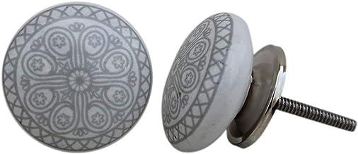Knop voor kast, lade, van keramiek, handbeschilderd, 12 stuks Grey & White knop grijs-wit Pushpacrafts (12) XFER