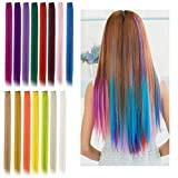 Viesap Extension Clip Capelli Colorati, 15 Pcs Colored Clip In Hair Extensions Accessori Capelli Bambina Arcobaleno Resistente Al Calore Dritto Highlight Hairpieces Fashion Party Hair Estensioni.