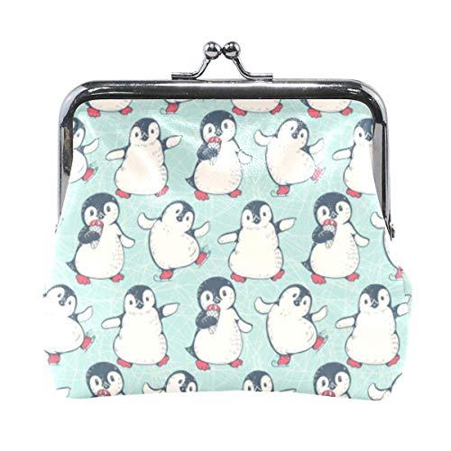 Monedero Pingüino Monedero Monedero con Hebilla Kiss-Lock Bolsa de Dinero Linda Titular de Cambio Retro Monedero pequeño Monedero Tarjetero