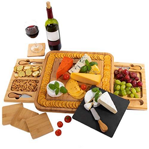 Tagliere da formaggio Ardesia di bambù includere i sottobicchieri - 2 cassetti estraibili con 4 coltelli in acciaio inossidabile - Regalo perfetto - By PlaNet