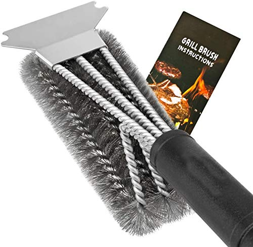 """Grill Brush and Scraper, 18"""" Best BBQ Brush Cleaner for All Grill, Safe 3 in 1 Stainless Steel Woven Wire Bristles Barbecue Cleaning Brush for Charcoal Grill, Durable & Effective."""