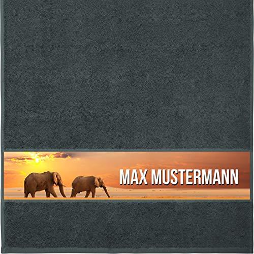 Manutextur Handtuch mit Namen - personalisiert - Motiv Tiere - Elefant - viele Farben & Motive - Dusch-Handtuch - anthrazit - Größe 50x100 cm - persönliches Geschenk mit Wunsch-Motiv und Wunsch-Name