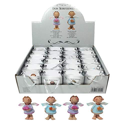 Annastore 24 x Schutzengel in Kleiner Tüte aus Papier - Engel Gastgeschenk Glücksbringer Figur Geschenke für Gäste (Rosa + Blau)