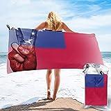 Sunmuchen Samoa-Flagge Badetuch, Fitnessstudio, Strandtuch, Mehrzweck-Einsatz für Sport, Reisen, super saugfähig, Mikrofaser, weich, schnell trocknend, leicht