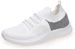Flying Woven Breathable Casual Women's Shoes, Summer New Comfortable and Versatile Soft And Lightweight Sports Shoes Mesh Cotton Shoes,White,35