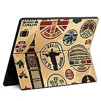 igsticker Surface Pro X 専用スキンシール サーフェス プロ エックス ノートブック ノートパソコン カバー ケース フィルム ステッカー アクセサリー 保護 005991 ユニーク スタンプ 建物 英国 国旗