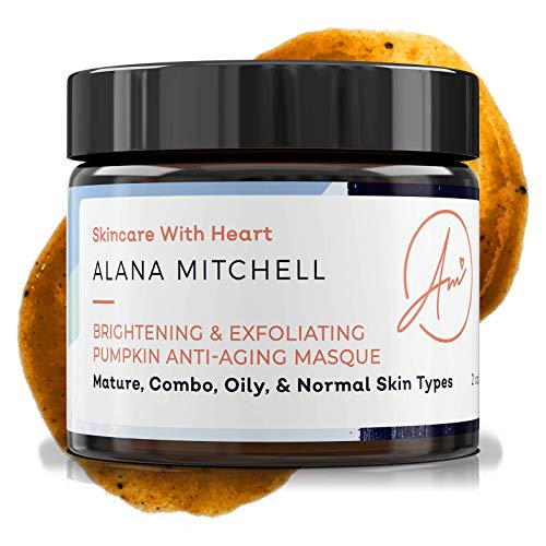 Brightening Pumpkin Enzyme Face Mask 2oz W/ Glycolic Acid, Lactic and Citric Acid - Instant Gel Exfoliating Mask For Anti Aging, Lighter, Younger Refreshed Neck and Facial Area Skin Care