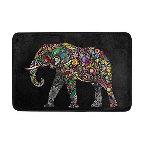 ALAZA Paillasson d'intérieur ou d'extérieur Motif éléphant indien tribal Noir 59,9 x 39,9 cm