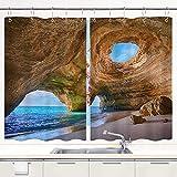 Cortina de Cocina SDBUYW-ZQ ,Portugal Playa Rock Agua de mar Paisaje., Juego de Paneles de Tratamiento de Ventanas Cortinas Ganchos de Metal incluidos Juego de 2 Paneles de 55x39 Pulgadas