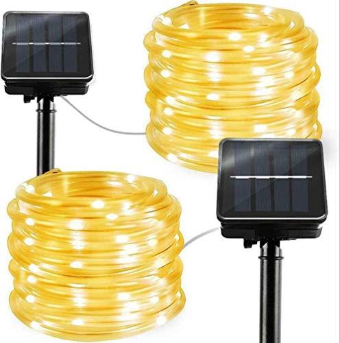 MYMAO Led-touwlichten, op zonne-energie aangedreven buitenverlichting, IP65 waterdicht lichtsnoer voor tuin, boom, Kerstmis, bruiloftsdecoratie, set van 2 stuks