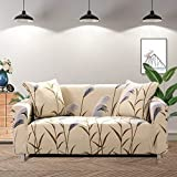 Lamberia Printed Sofa Cover Stretch Couch Cover Sofa Slipcovers for Couches and Loveseats with Two Pillow Case (Waving Bulrush, Loveseat)