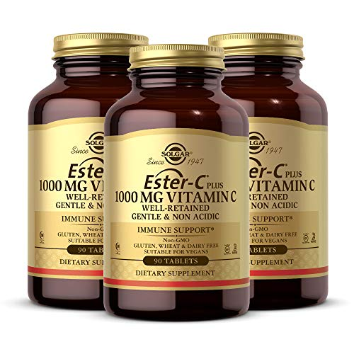 Solgar Ester-C Plus 1000 mg Vitamin C (Ascorbate Complex), 90 Tablets - Pack of 3 - Gentle on the Stomach & Non Acidic - Antioxidant & Immune System Support - Non-GMO, Vegan - 270 Total Servings