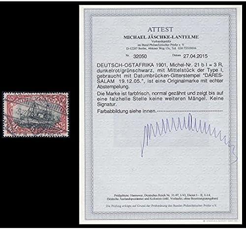 Goldhahn Deutsche Kolonien Ostafrika Nr.21bI gestempelt mit Fotoattest J hke-Lantelme Briefürken für Sammler