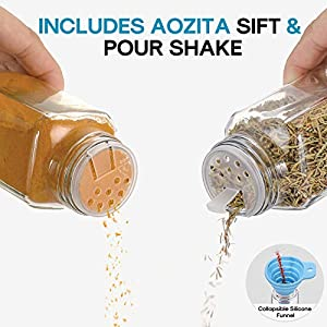 Aozita 48 Pcs Glass Spice Jars/Bottles - 4oz Empty Square Spice Containers with 810 Spice Labels - Shaker Lids and… |